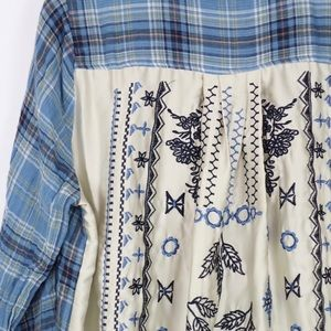 Jane and Delancey blue plaid button up embroidered